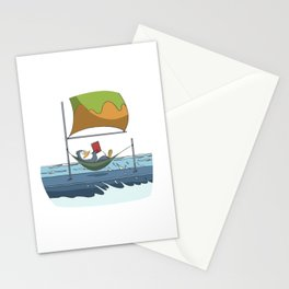 Penguin reads book on sailboat Stationery Cards
