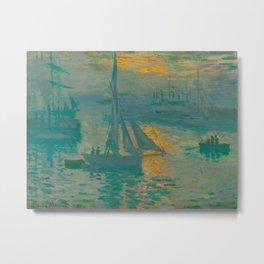 Claude Monet Impressionist Landscape Oil Painting French - Sunrise Marine Sail Boat Metal Print