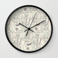 shopping Wall Clocks featuring Paris Shopping by RED ROAD STUDIO