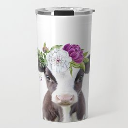 Baby Cow with Flower Crown Travel Mug