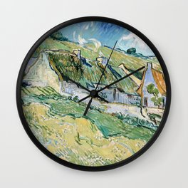 Thatched Cottages and Houses by Vincent van Gogh Wall Clock