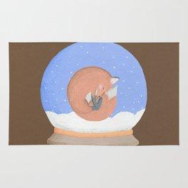 Sleeping Fox in A Snow Globe Rug