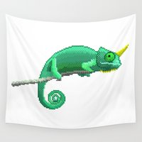 chameleon Wall Tapestries featuring Chameleon by MapOfCampus