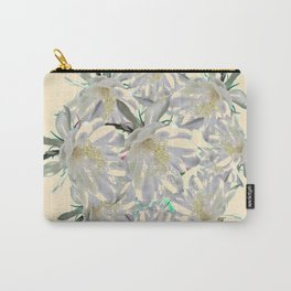 WHITE  NIGHT BLOOMING TROPICAL CEREUS  ON CREAM ART Carry-All Pouch
