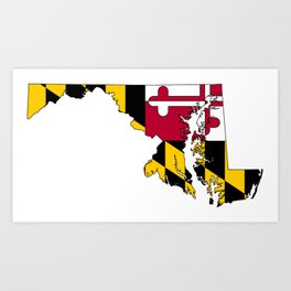 Map of Maryland with Maryland State Flag Art Print