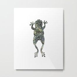 green lichen leaping frog silhouette Metal Print