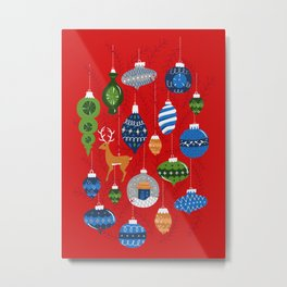 Holiday Ornaments in Red + Blue + Green Metal Print