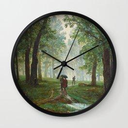 "Ivan Shishkin ""Rain in the oak forest"" Wall Clock"