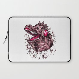 Dino with Headphones Puce Laptop Sleeve