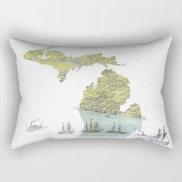 Ships Along the Shore - Michigan circa 1868 Rectangular Pillow
