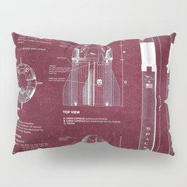 NASA SpaceX Crew Dragon Spacecraft & Falcon 9 Rocket Blueprint in High Resolution (red) Pillow Sham