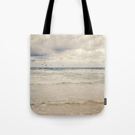 Seagulls take flight over the sea. Tote Bag