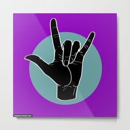 ILY - I Love You - Sign Language - Black on Green Blue 05 Metal Print