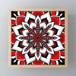 Mandala : Red Flower Mandala Framed Mini Art Print