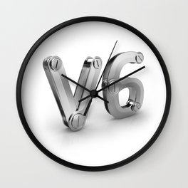 metal 3D V6 icon for six cylinders strong car engine Wall Clock