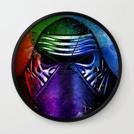 Kylo Ren the Force Awakens Sci-fi Fan Art - Digital Splash Painting Wall Clock