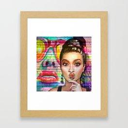 Retro Pinup Girl Lollipop Colorful Graffiti Wall Framed Art Print