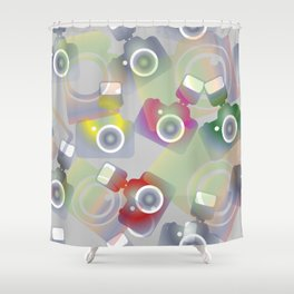 seamless pattern with cameras - background photo business Shower Curtain