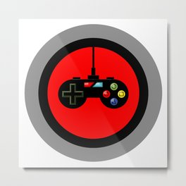 Game Controller in Red Target Metal Print