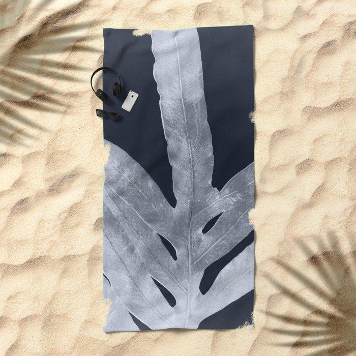 Green Fern Silver Black Beach Towel