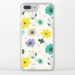 Modern ivory lime green teal violet floral illustration Clear iPhone Case