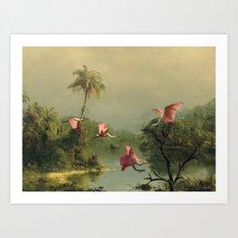 Spoonbills in the Mist Art Print