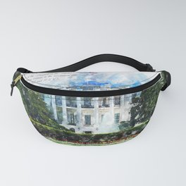 White House, Washington DC, Watercolor Fanny Pack