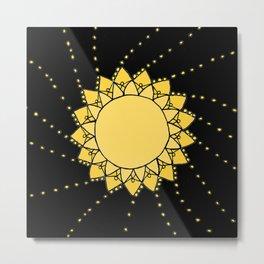Celestial Swirling Sun Boho Mandala Hand-drawn Illustration on Black Metal Print