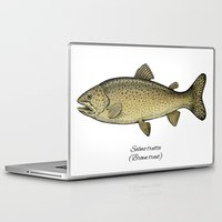 trout Laptop & iPad Skins featuring Brown trout by Eugenia Hauss