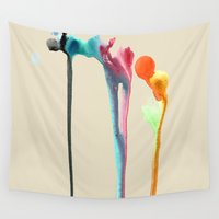 planets Wall Tapestries featuring Melting Planets  by Perrin Le Feuvre