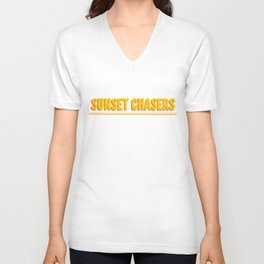 Sunset chasers with double line Unisex V-Neck