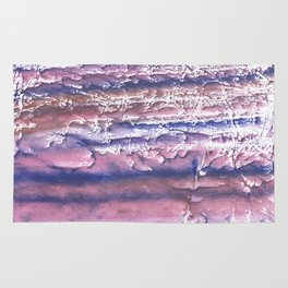 Rosy blue streaked watercolor painting Rug