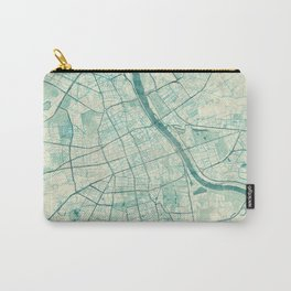 Warsaw Map Blue Vintage Carry-All Pouch