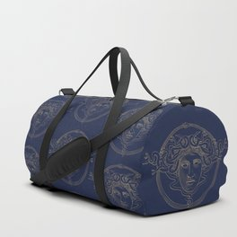 medusa / gold minimal line logo on navy background Duffle Bag