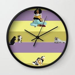 Cat Sitter Wall Clock