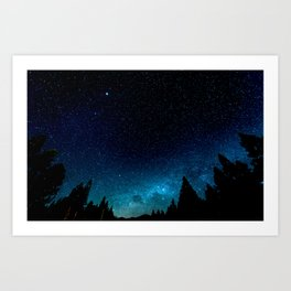 Black Trees Turquoise Milky Way Stars Art Print