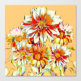 WHITE-RED FLOWER STILL LIFE CREAMY PASTELS Canvas Print