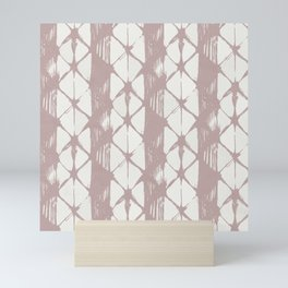 Simply Braided Chevron Clay Pink on Lunar Gray Mini Art Print