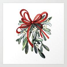 Branch of mistletoe Art Print