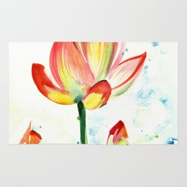 LOTUS FLOWER WITH BUDS Watercolor Rug