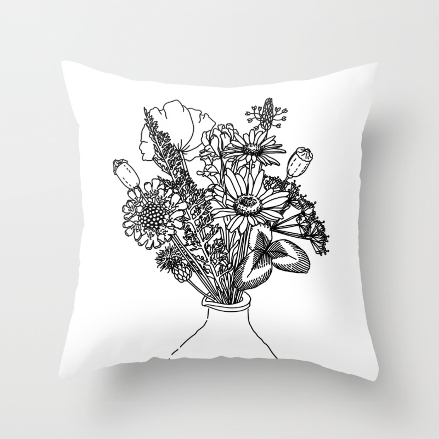 A Vase With Flowers Throw Pillow