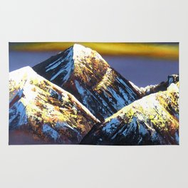 Panoramic Night View Of Everest Mountain Rug