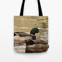 ducks Tote Bags featuring Ducks by Sciuridae