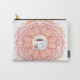 Cute Tea Lover Mandala with Tea Quotes Carry-All Pouch