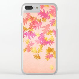 Autumn-world 1 - gold glitter leaves on pink background Clear iPhone Case