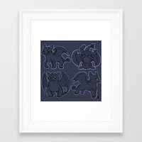 toothless Framed Art Prints featuring Toothless  by Magen Works