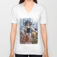 zombies V-neck T-shirts featuring ZOMBIES by Maryne.