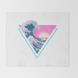 Vaporwave Aesthetic 90's Great Wave Off Kanagawa Throw Blanket