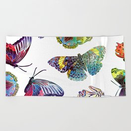 Butterfly Obsession in Blues Beach Towel
