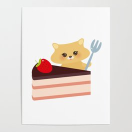 cute kawaii hamster with fork, Sweet cake decorated with fresh Strawberry, pink cream and chocolate Poster